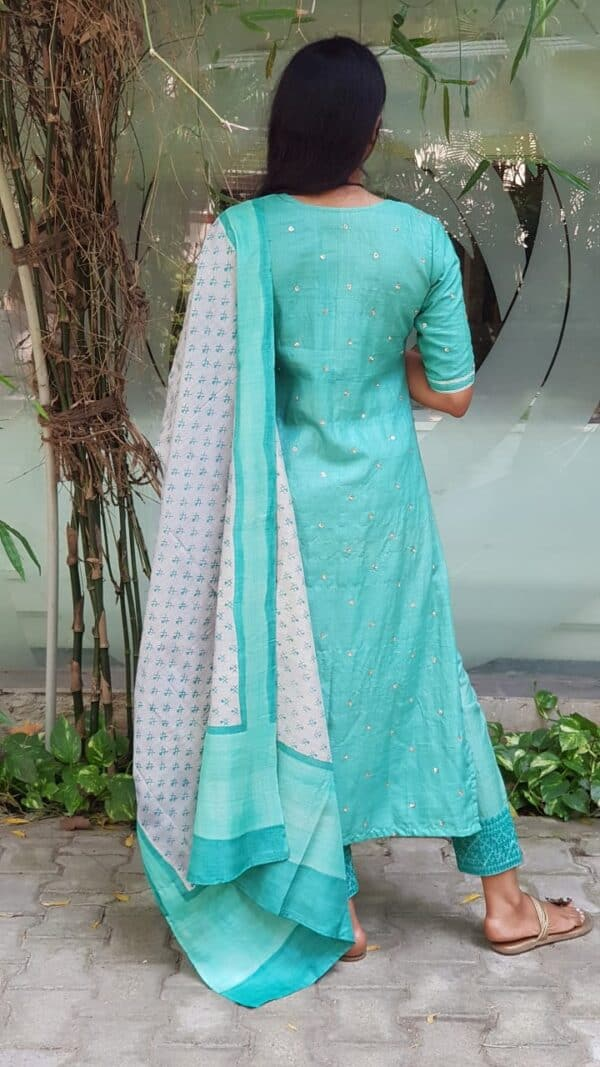 saphire green with kutch embroidery bottom3