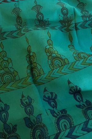 teal green kalamkari silk