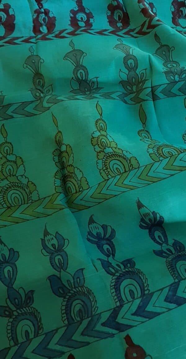 teal green kalamkari silk