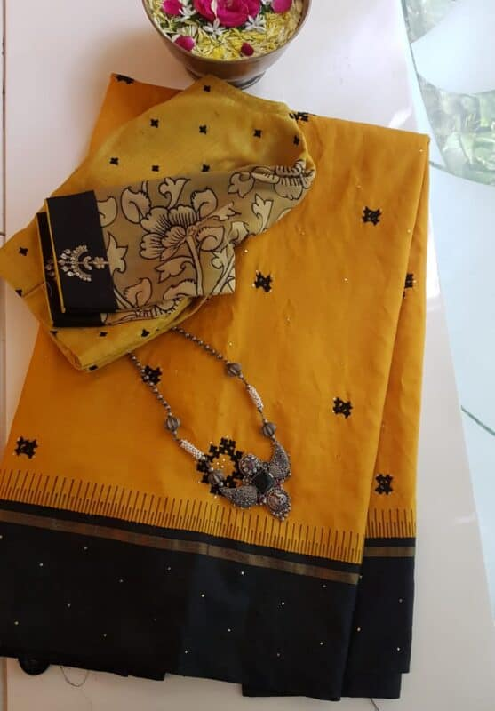 yellow and black kutch work