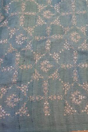 Beige tussar saree with teal pallu3