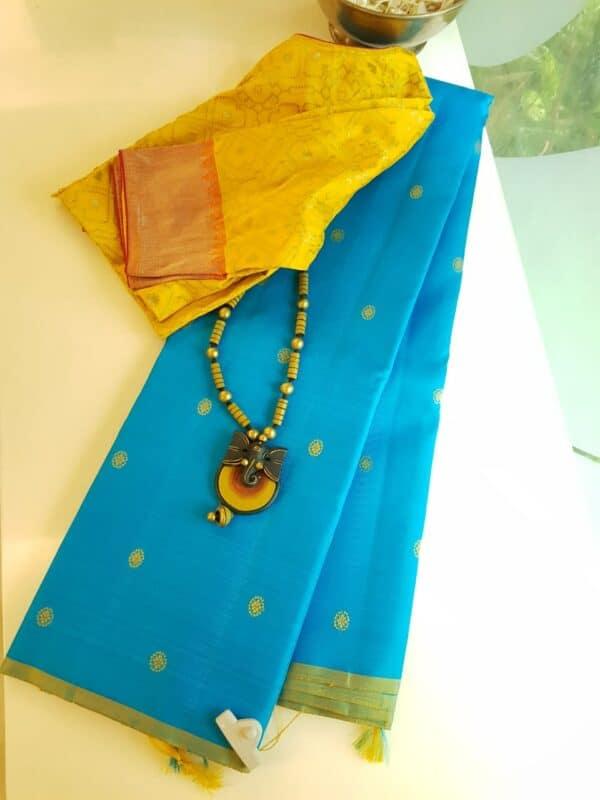 ananda blue meenakari saree