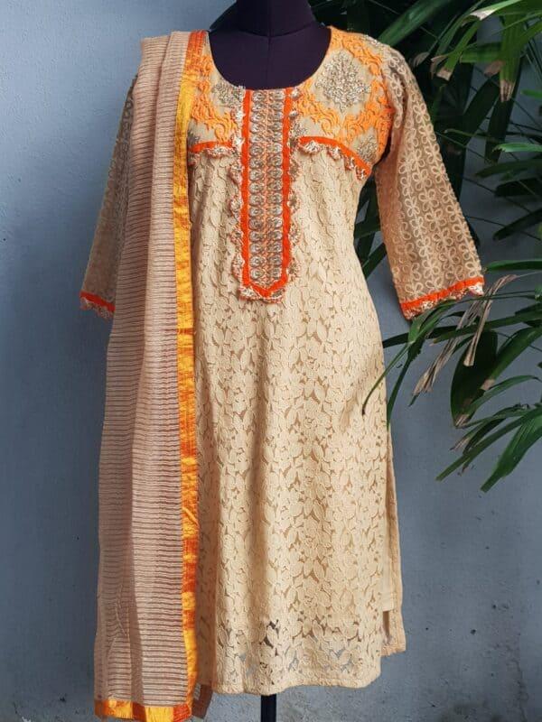 beige lace set with orange