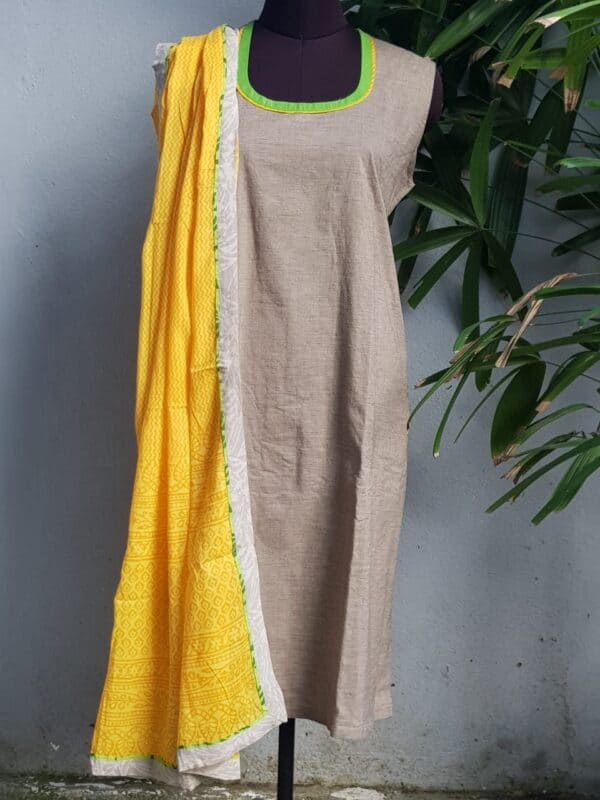 beige top with yellow dupatta