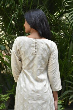 beige tussar with embroidery1