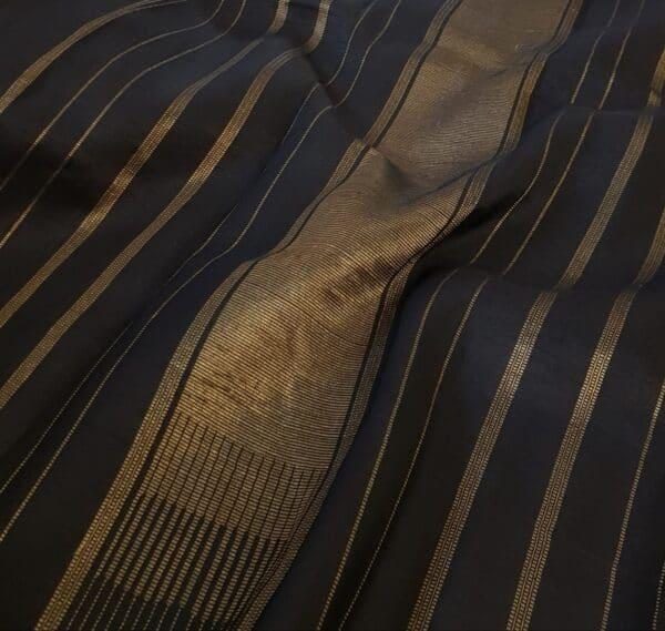 black and grey half and half silk saree with kalamkari1