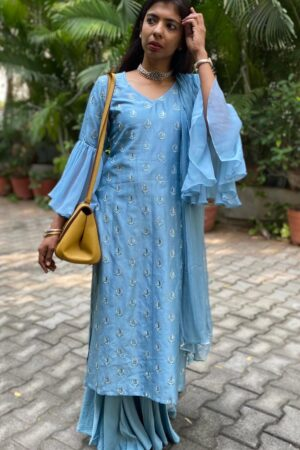 blue chanderi set with ruffle sleeve