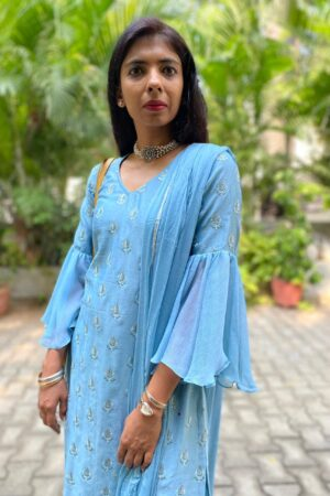 blue chanderi set with ruffle sleeve2