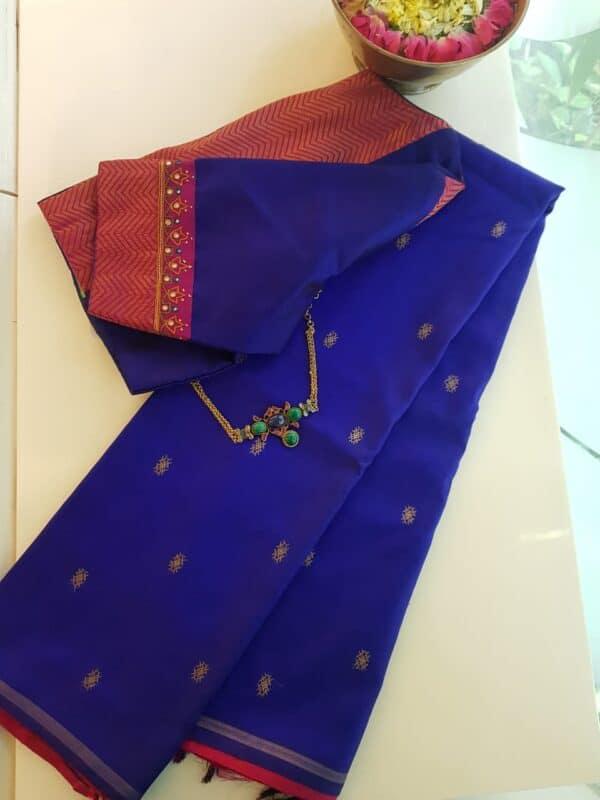 blue kanchi silk saree with buttis