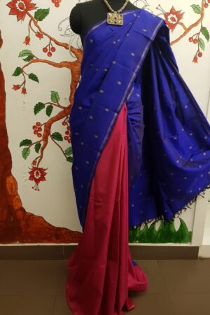 blue kanchi silk saree with buttis4