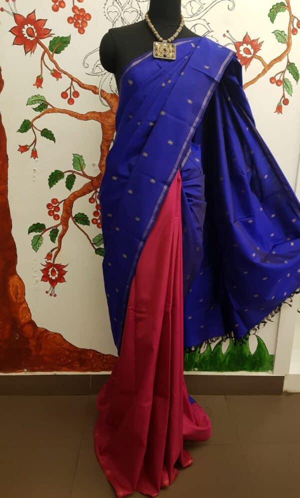 blue kanchi silk saree with buttis4