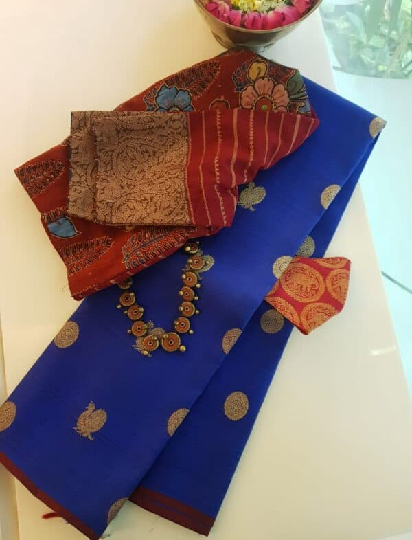blue kanchipuram silk saree with mayil chakram