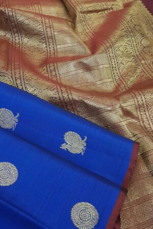 blue kanchipuram silk saree with mayil chakram2