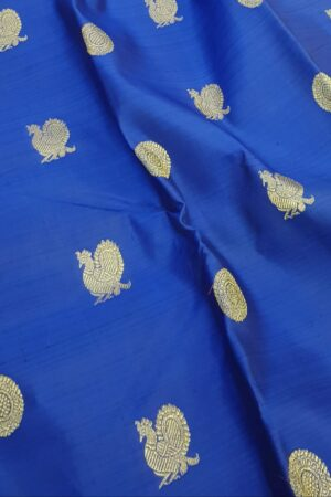 blue kanchipuram silk saree with mayil chakram3