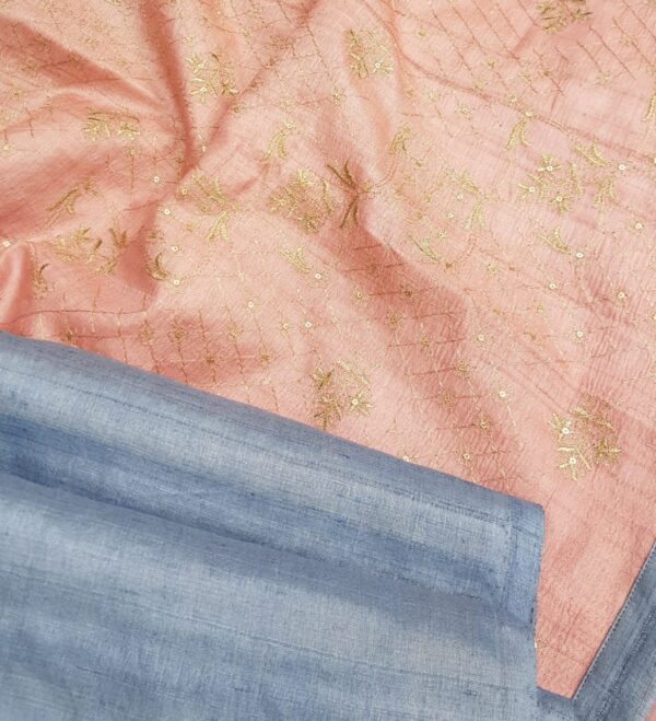 blue tussar saree with pale pink pallu2