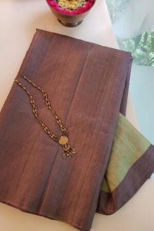 brown tussar saree with green pallu