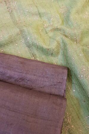 brown tussar saree with green pallu2