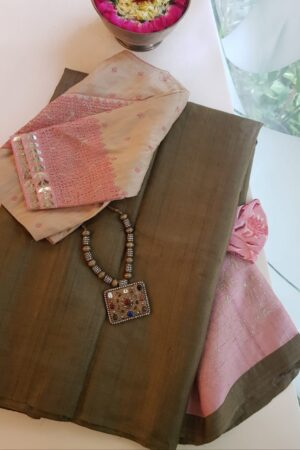 brown tussar saree with pink pallu