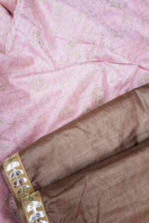 brown tussar saree with pink pallu2