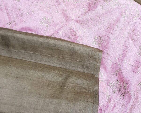 brown tussar saree with pink pallu5