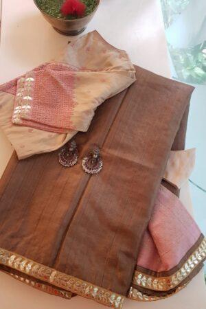 brown tussar saree with pink pallu7