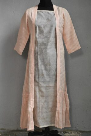 chanderi top with linen coat