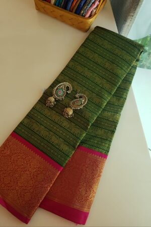 green and pink korvai saree