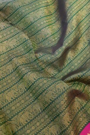 green and pink korvai saree1