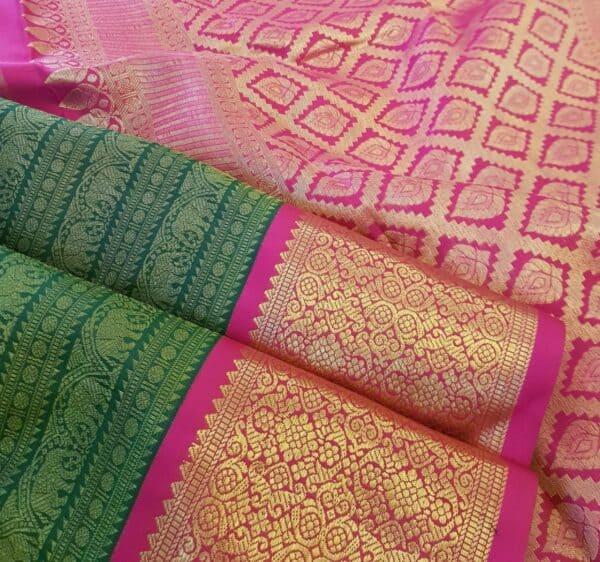 green and pink korvai saree3