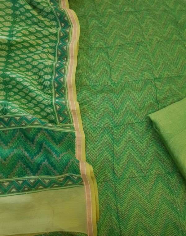 green chanderi set