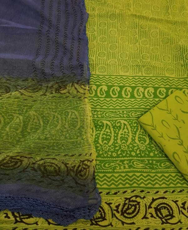 green top with crochet dupatta