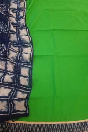 green top with indigo blue dupatta