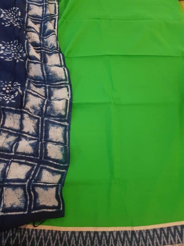 green top with indigo blue dupatta