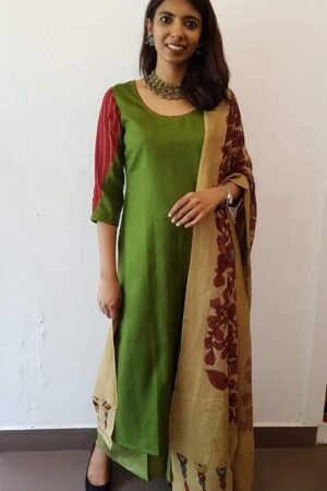 green top with maroon sleeves