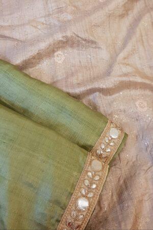 green tussar saree with beige pallu1