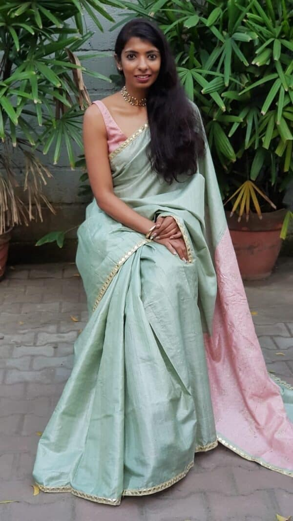 green with pink pallu