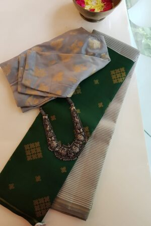 grey and bottle green half half kanchi silk saree