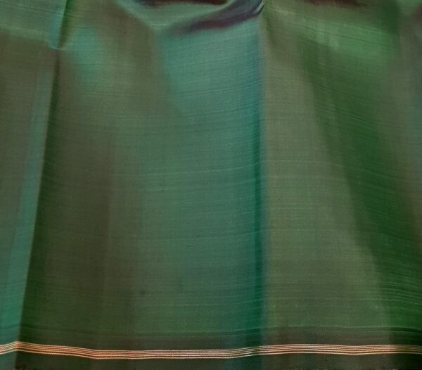 grey and bottle green half half kanchi silk saree1