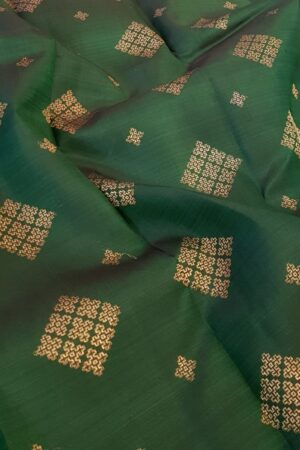 grey and bottle green half half kanchi silk saree3