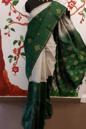 grey and bottle green half half kanchi silk saree4