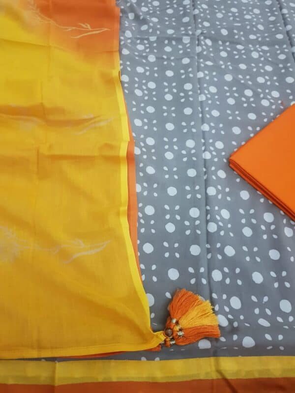 grey dhabu with yellow and orange