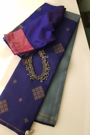 grey with blue half half kanchi silk saree