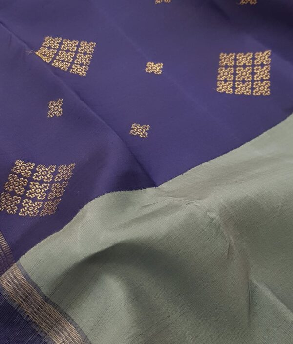 grey with blue half half kanchi silk saree2
