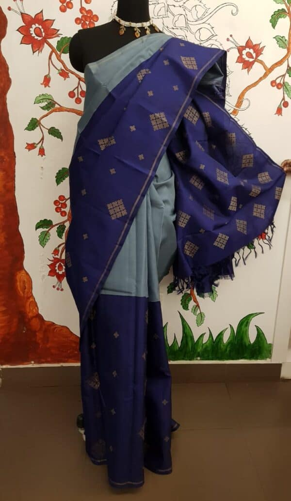 grey with blue half half kanchi silk saree4