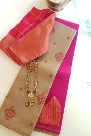 iced mocha with rani pink silk half half saree