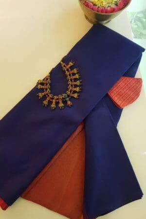 navy blue kanchi silk saree with bavanji pallu