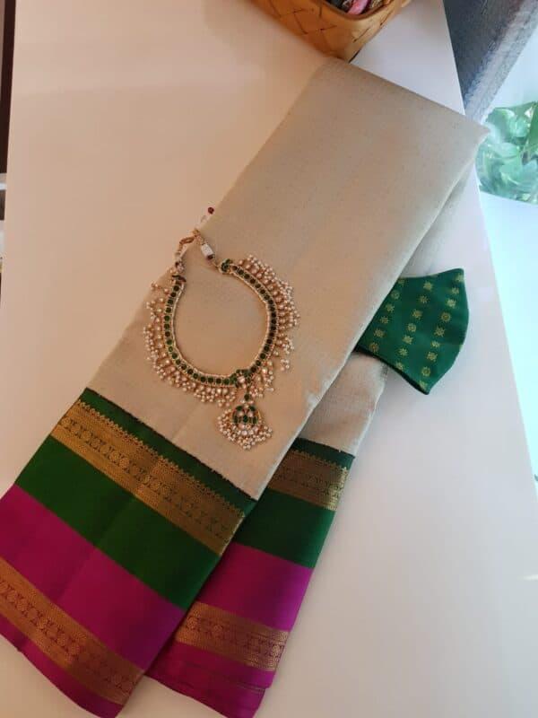 off white with double border korvai silk saree
