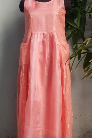 peach chanderi dress