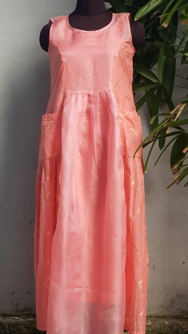 peach chanderi dress
