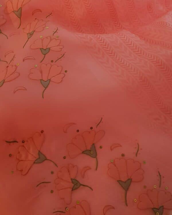 peach shadow work saree4
